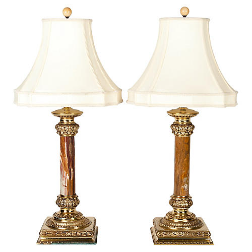 Antique Jade Table Lamps, Pair