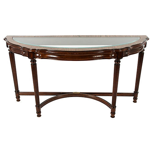 Glass-Top Demilune Table