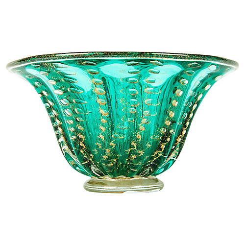 Green/Gold Murano Bowl