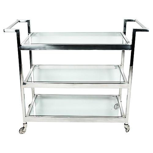 Mid-Century Modern Glass Bar Cart