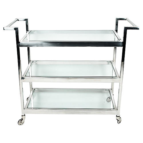 Mid-Century Modern Glass Bar Cart