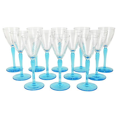 Turquoise Liquor Glasses, S/12