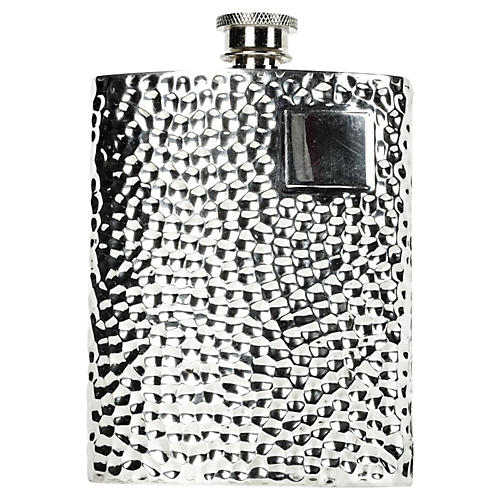 Hammered Silver-Plate Flask
