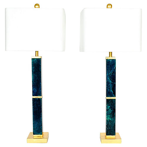 Square Jade Lamps With Gold