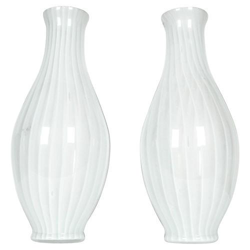 Midcentury Murano Glass Vases, Pair