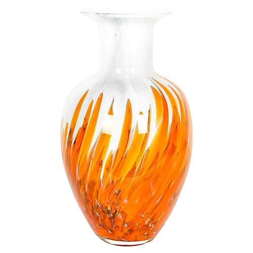 Orange Murano Glass Vase