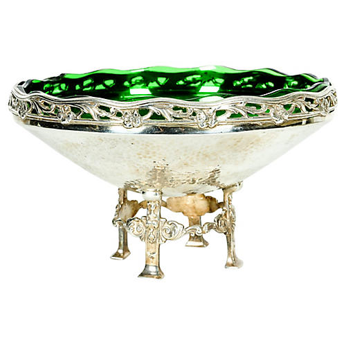 Silver-Plate & Green Glass Footed Dish