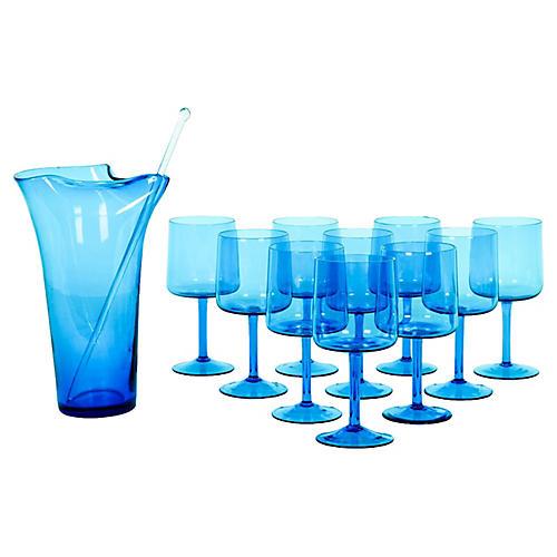 Mid-Century Crystal Martini Set, 12-pcs