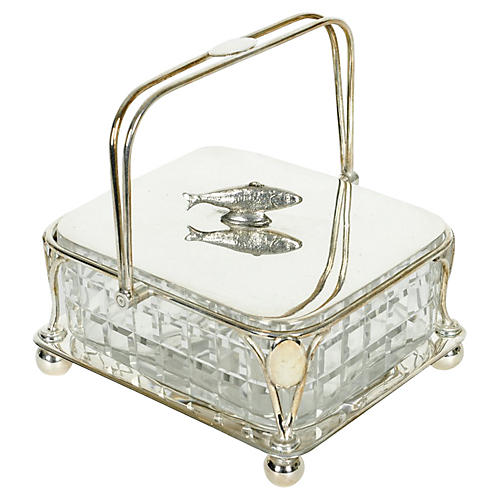 Silver & Crystal Decorative Sardine Box