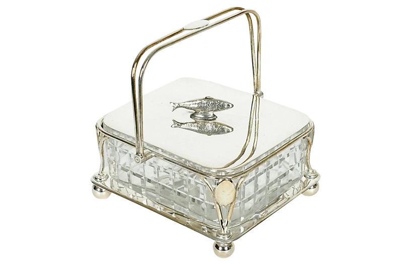 Silver & Crystal Decorative Sardine Box