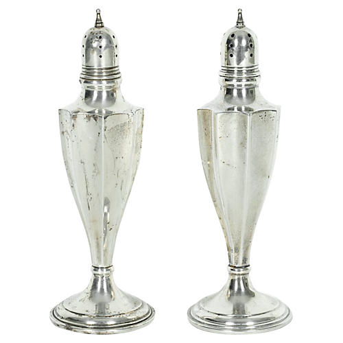 Sterling Salt & Pepper Shakers, S/2