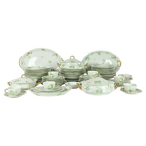 Limoges Porcelain Dinner Service, 73 Pcs