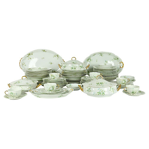 Limoges Porcelain Dinner Service, 73 Pcs
