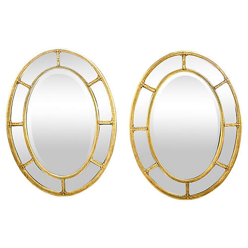 Mid Century Modern Wood Oval Mirrors