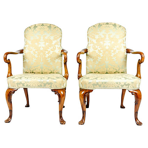 19th-C. English Armchairs, S/2