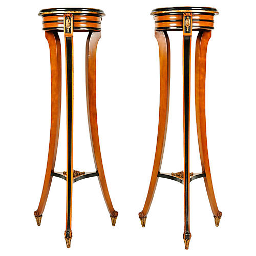English Mahogany Pedestals, Pair