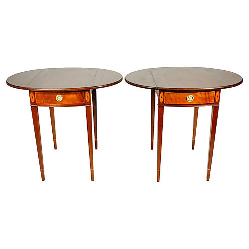 19th-C. Cherry Side Tables, S/2