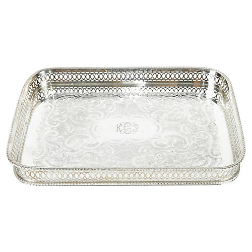 English Silver-Plate Gallery Tray