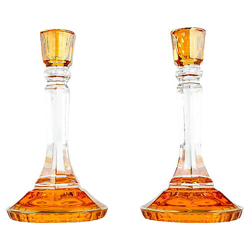 Italian Art Glass Candlesticks, Pair
