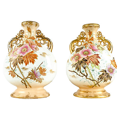 Antique German Porcelain Vases, Pair
