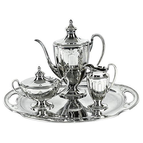 Silver-Plated Tea & Coffee Set, 4 Pcs