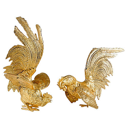 English Brass Fighting Roosters, S/2