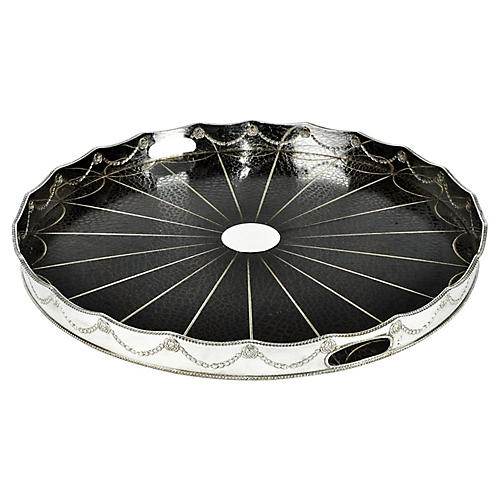 Round Silver-Plated Tray