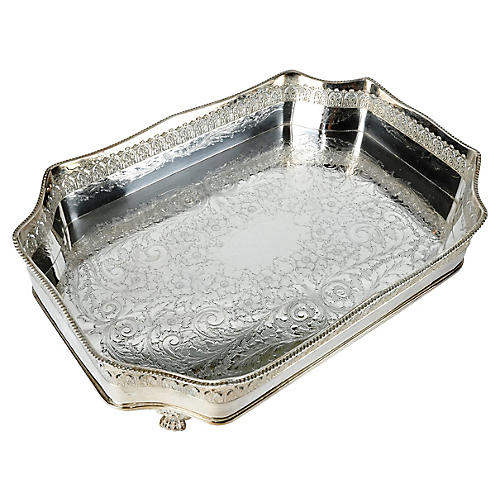 English Silver-Plate Serving Tray