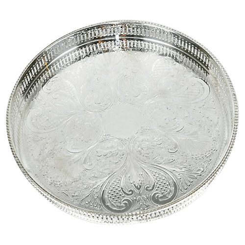English Silver-Plated Gallery Tray