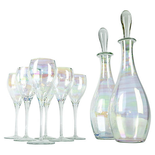 Italian Iridescent Decanter Set, 8 Pcs
