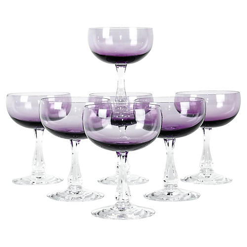 Vintage Amethyst Crystal Coupes, s/7