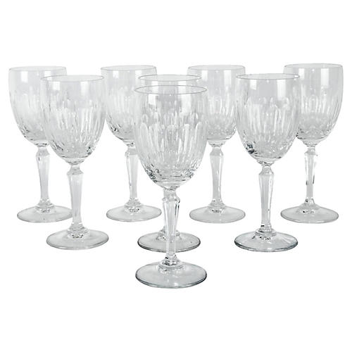 French Cut-Crystal Wineglasses, S/8
