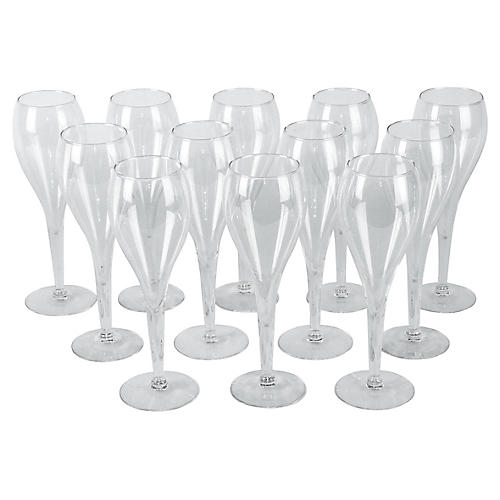 Crystal Champagne Flutes, S/12