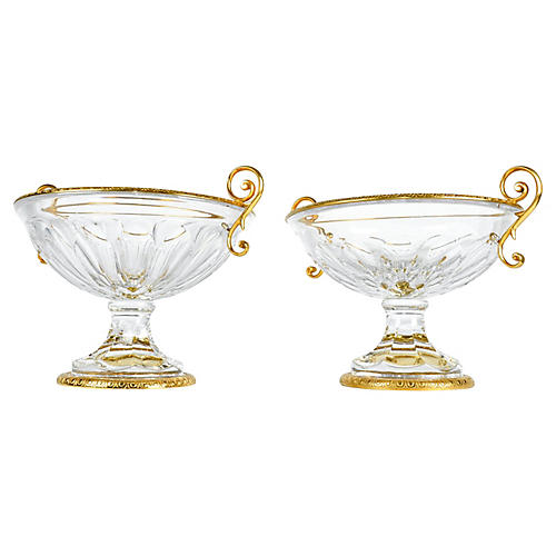 Antique French Cut-Crystal Vases, Pair