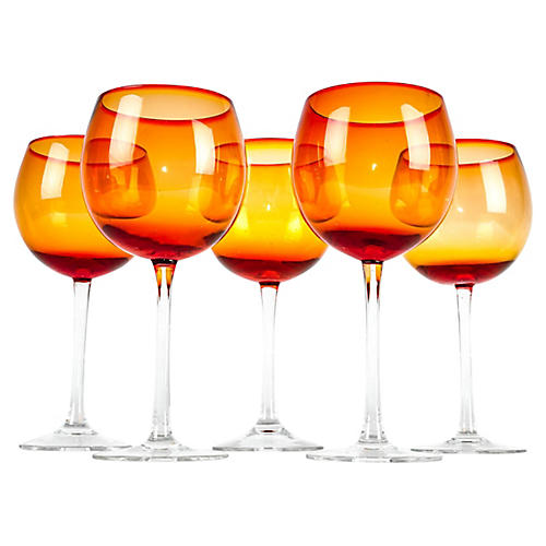 Orange-Red Wineglasses, S/5