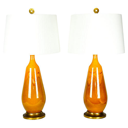 Vintage Pair Porcelain Table Lamps