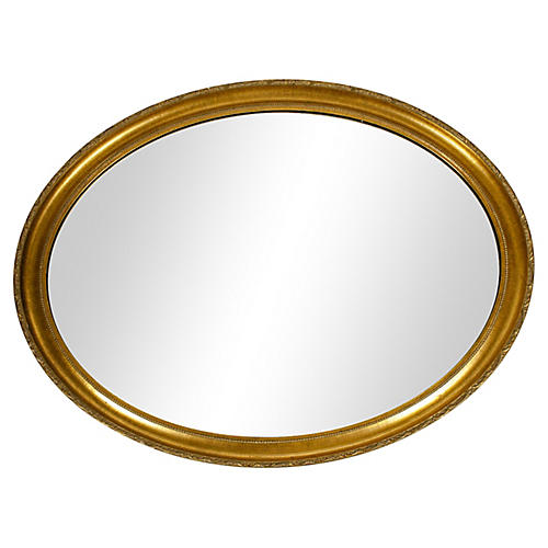 Mid 20th Century Wood Frame Oval Mirror
