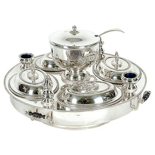 English Silver-Plate Lazy Susan, 19 Pcs