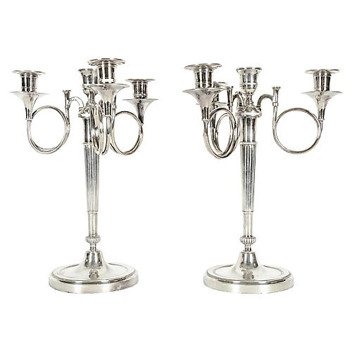 Silver-Plated 4-Arm Candelabra, Pair