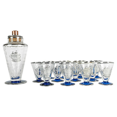 Antique Etched Ship Cocktail Set, 13 pcs