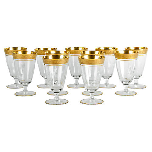 Gilt Crystal Glassware Set, 12 pcs