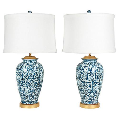 Porcelain & Wooden Gold Base Lamps, S/2