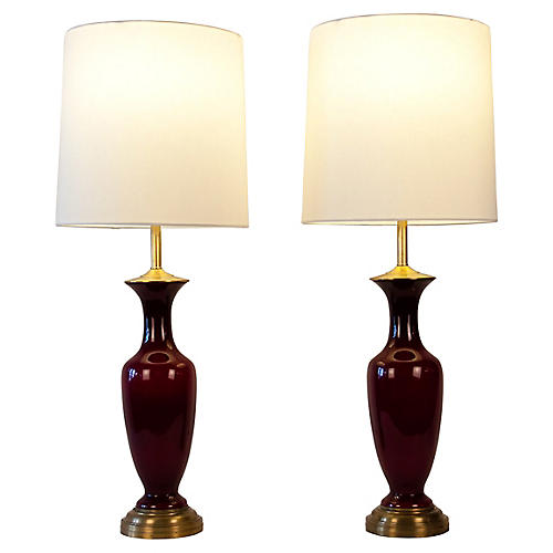 Art Glass & Brass Table Lamps, S/2