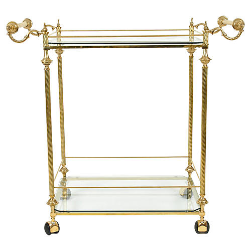 Brass 2-Tier Bar Cart