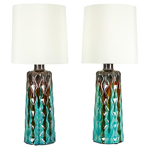 Mid-Century Modern Table Lamps, Pair