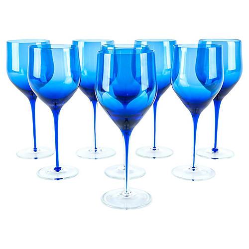 Cobalt Crystal Wineglasses, S/8