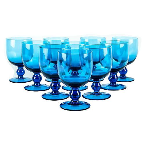 Blue Crystal Glasses, S/10