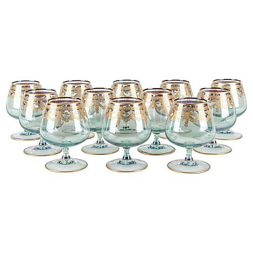 Murano Brandy/Snifter Glasses, S/12
