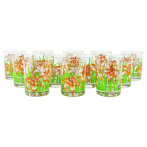 Tiger Lily Lowball Glasses, S/12