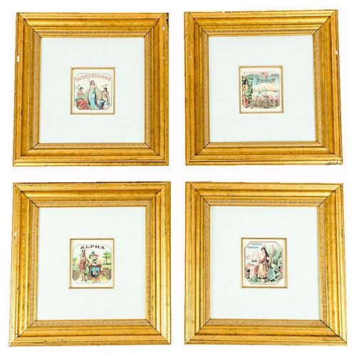 Antique Framed Cigarette Prints, S/4